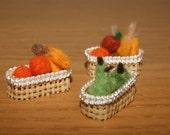Felted fruits, needle felted fruits, fruits miniature