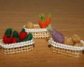 Felted vegetables, vegetables miniatures, miniature carrot, miniature potatoe