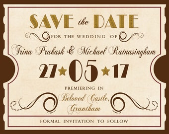 Rush Custom Save the Date Magnet Invitation Listing for trinaprakash - Antique Movie Theater