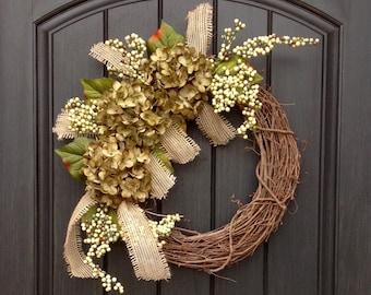 READY TO SHIP Fall Wreath-Autumn Wreath Berry-Twig-Holiday Wreath- Grapevine Door Decor-Fall Decor Green Hydrangea-Floral Monogrammed Wreath