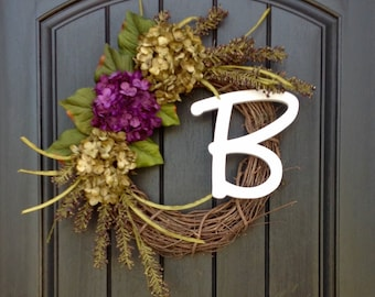 Fall Wreath-Autumn Wreath Berry-Twig-Holiday Wreath- Grapevine Door Decor-Fall Decor Green Hydrangea-Floral Monogrammed Wreath