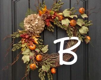 "Fall Wreath Autumn Wreath Green Berry Grapevine Door Wreath Decor Monogrammed Decoration ""Pumpkin Vines"""