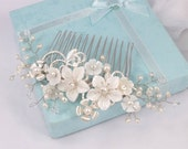 Isabelle -Mother Pearl Flower , Freshwater Pearl, Rhinestone and Crystal Bridal Comb