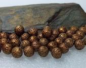 52 Copper Filigree Round Beads