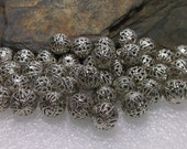 48 Antiqued Silver Filigree Round Beads