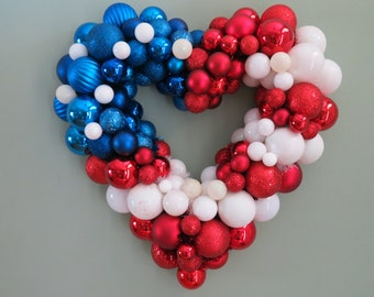 "USA Wreath PATRIOTIC Wreath FLAG Heart Ornament Wreath 18"" Patriotic Wreath"