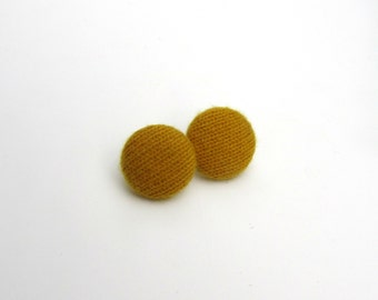 Covered Button Earrings Mustard Yellow Cashmere 7/8 in 2.22 cm