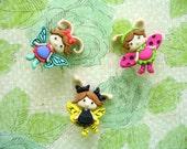 Bugs Fairies Thumbtack, Bugs Fairies Push Pin, Little Girl Room Decoration, Fairies Notice Board Pins