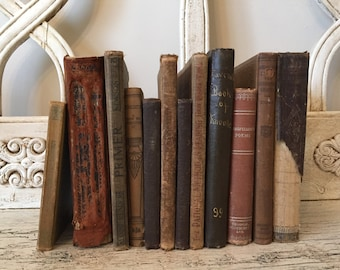 Farmhouse Tattered Book Stack  - Rustic Home Decor - Dark Brown and Tan Books - 1800s-1900s