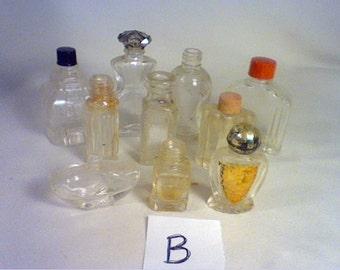 Lot of 10 vintage empty perfume bottles (B)