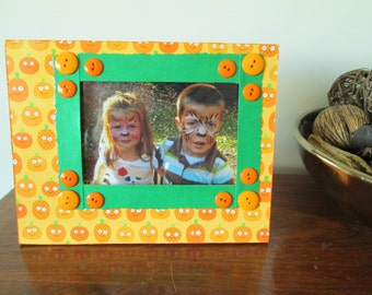 4x6 Pumpkin Themed - Hand Decorated Picture Frame