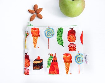 Zippered Snack Bags with Food-Safe Nylon Lining - Hungry Caterpillar
