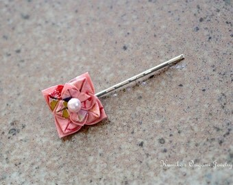Japanese Origami Accessory - Origami Flower Bobby Pin No.03161