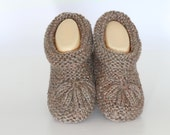 Hand Knit Slippers, Brown Slippers,  Handmade Footwear