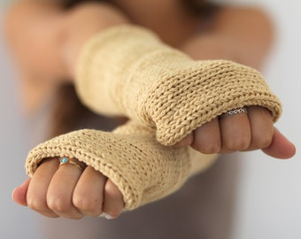 Knitted gloves mittens  Beige Arm Warmers, Knitted Arm Warmers, Knits for Women