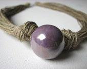 Ceramic lavender - linen necklace