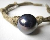 Ceramic cobalt - linen necklace