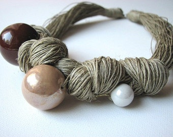 Three Brown beads - linen necklace