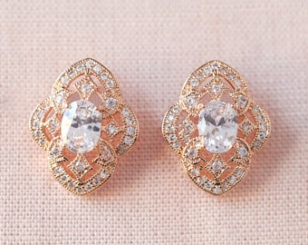 Rose Gold Stud Earrings, Filigree Wedding Earrings, Bridesmaid jewelry Wedding jewelry Swarovski Bridal Jewelry, Lola Crystal Stud earrings