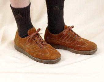 Mens 70s Sneakers * Rust Suede Sneakers * Mens Creepers * Men's Tie Sneakers * 1970s Sneakers * Gummy Shoes