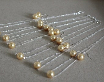 Bridal Set Gold Pearl, Pearl Necklaces & Earrings, Gold Pearl Jewelry, Wedding Jewelry, Custom Color White Ivory Pink Black