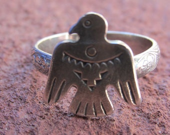 Stamped Sterling Silver Thunderbird Ring Cowgirl Southwestern Jewelry