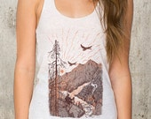 Women's Tank Top - Mountain Cabin Illustration - Women's American Apparel Tri-Blend Tank Top - Available in XS, S, M and L