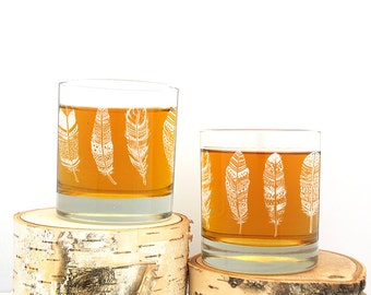 Rustic Feather Rock Glasses - Screen Printed Whiskey Glasses - Set of Two Small Tumbler Glasses - 11oz.