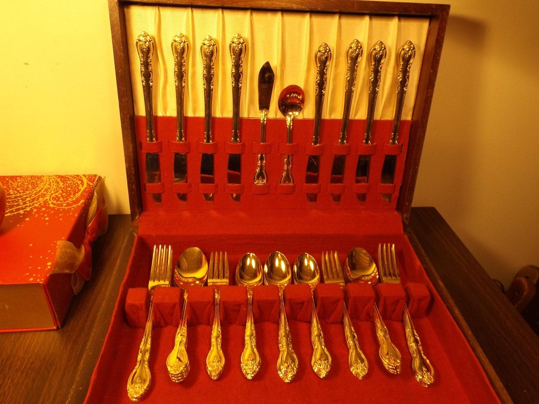 Japanese Gold Plated Stainless Set 50 Flatware Sarah Ann