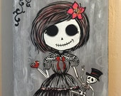 """sweet girl skull painting, acrylic on wooden frame, Halloween decoration, 81/4""""x11""""x1"""", day of the day"""