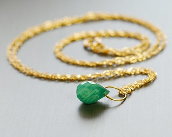 Emerald 14k Solid Gold Necklace by Agusha. Gold Emerald Pendant. 14k Gold Necklace. May Birthstone Jewelry
