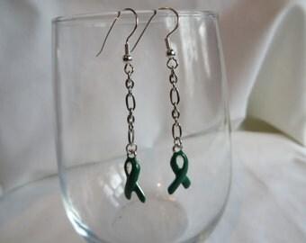 Green Ribbon Dangle Earrings