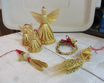 Vintage Christmas Straw Angels and Ornaments, ornaments, Christmas, straw, angels, Reduced