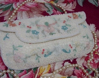 Fabulous Vintage Beaded Evening Clutch Purse made in Belgium, Pastels, Embroidered