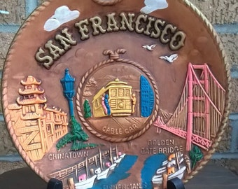 Vintage 70s San Francisco Wall Art Plate
