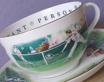 Large Vintage 1960's Royal Worcester Teacup and saucer, VIP, Very Important Person Tennis tea cup Sports Father's Day gift for tennis player