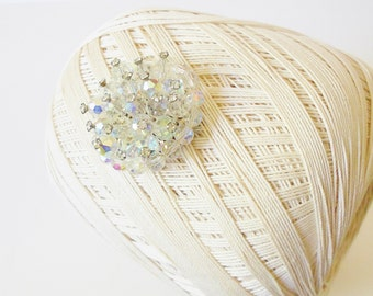 Vintage Aurora Borealis Crystal Beaded Brooch Pin w/ Rhinestones, Mother of the Bride, Vtg Bridal jewelry, Round pin, 1960's