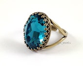 Teal Blue Ring - Large Oval Swarovski Crystal Indicolite Antique Brass Statement Cocktail Ring