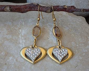 Valentine's Day Gift, Heart Shaped Earrings, Gold Plated Swarovski Earrings. Heart Dangle Earrings. Double Heart Earrings. Heart Jewelry