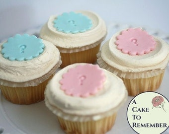 Gender reveal party food ideas, pink and blue, 12 cupcake toppers, round fondant with question marks, gender reveal party cake decorations