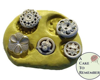 Silicone resin mold of lacy vintage buttons. Cake decorating mold, polymer clay buttons, jewelry making supplies for pmc and utee. M29