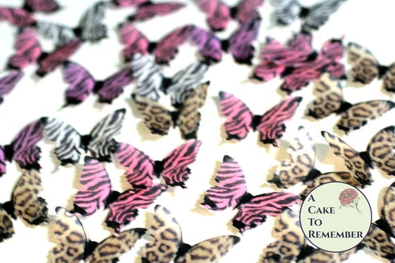 Edible butterflies 24 animal print for cake decorating for Animal print edible cake decoration
