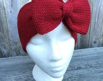 Valentines Day, Red Bow, Knit Bow Headband, Bow Headband, Adult Headband, Knit Headband with Bow, Women's Gift