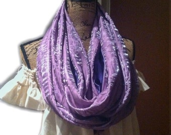 """Violet travel pocket scarf 74"""" lightweight infinity pocket scarf with double pockets"""