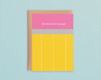 Old School Text Message Pencil Card