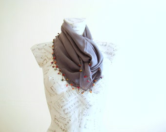 Summer scarf square cotton scarf cotton bandana head scarf gray scarf pareo wrap beach pareo cotton pareo wooden bead crochet edge spring