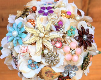 Vintage Brooch Bouquet Pastel Pink Blue wedding bridal bouquet, Deposit only