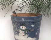 Primitive Winter Snowman Wooden Bucket Christmas Ornament, Glittered
