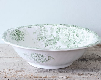 F. Winkle Colonial Pottery Green and White Antique Wash Bowl Irving Pattern Transferware