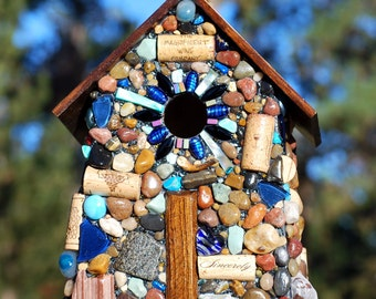 Large Outdoor Birdhouse Cobalt Blue Glass and Mosaic Stones for Wine Lovers wine corks Rustic birdhouse Made in Oregon Winter Birds Wrens